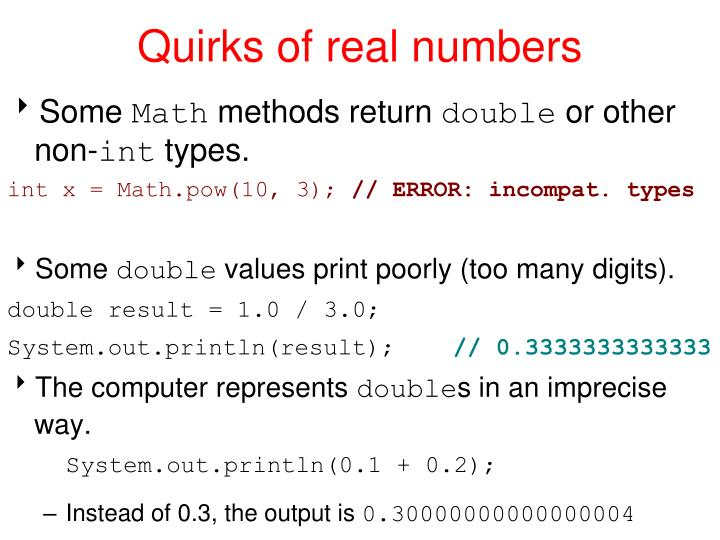 Quirks of real numbers