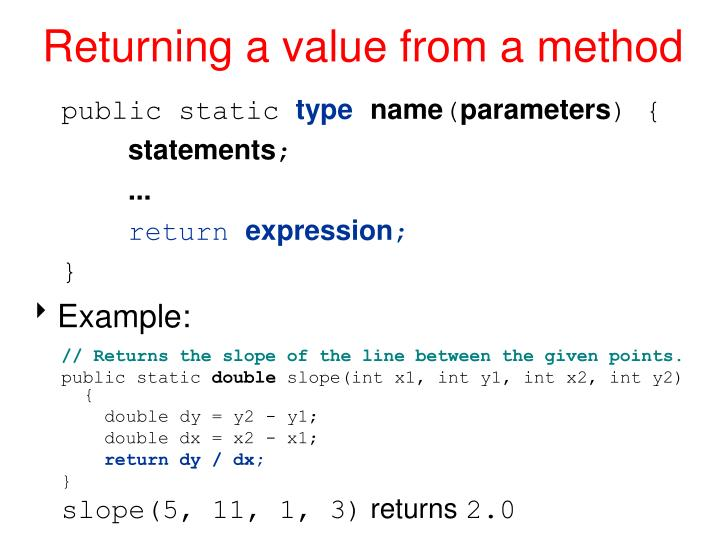Returning a value from a method