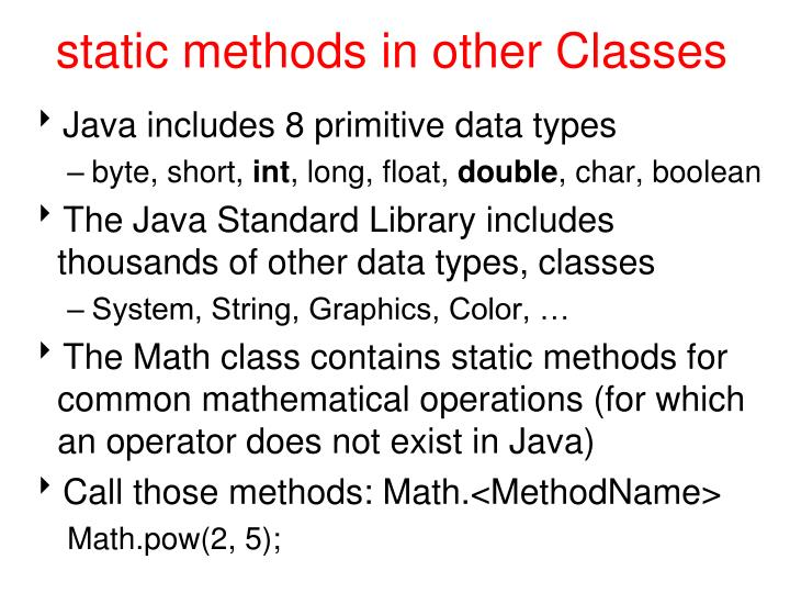 Static methods in other classes