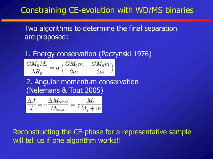 Constraining CE-evolution with WD/MS binaries