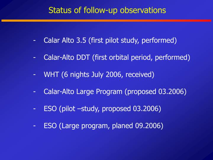 Status of follow-up observations
