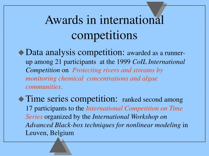 Awards in international competitions