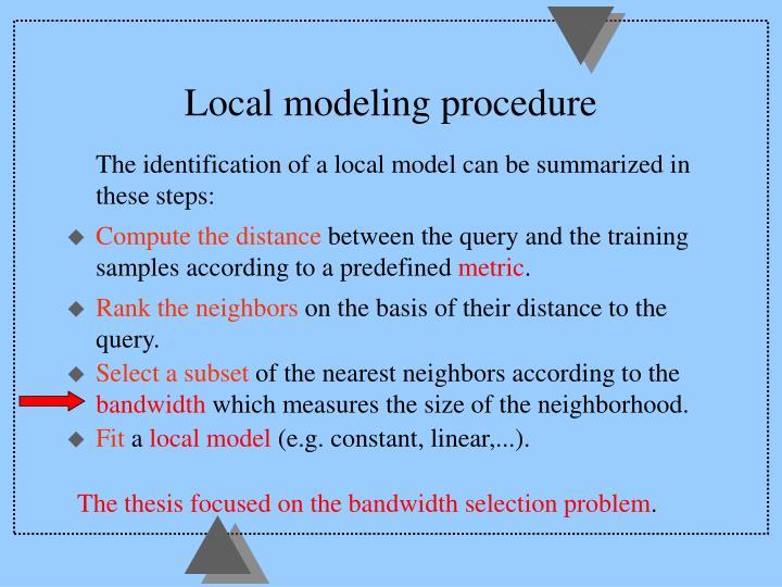 Local modeling procedure