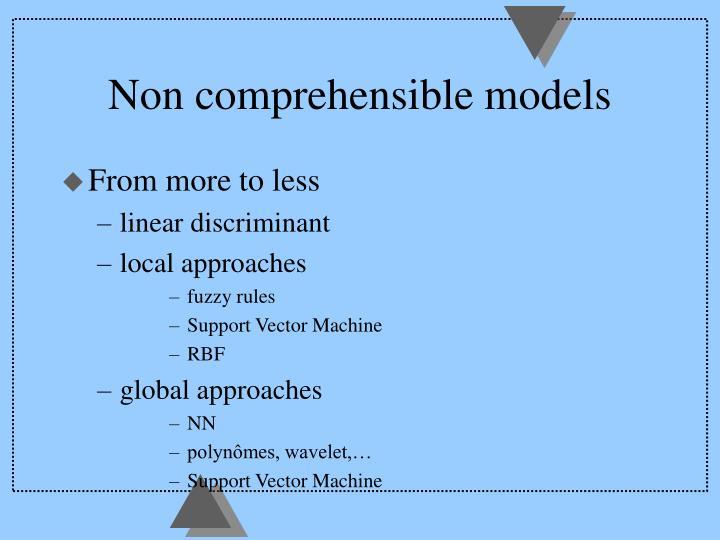 Non comprehensible models