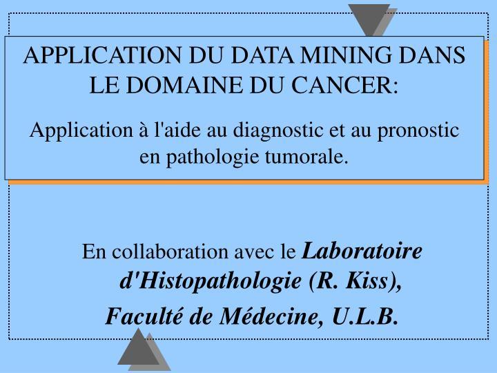 APPLICATION DU DATA MINING DANS LE DOMAINE DU CANCER: