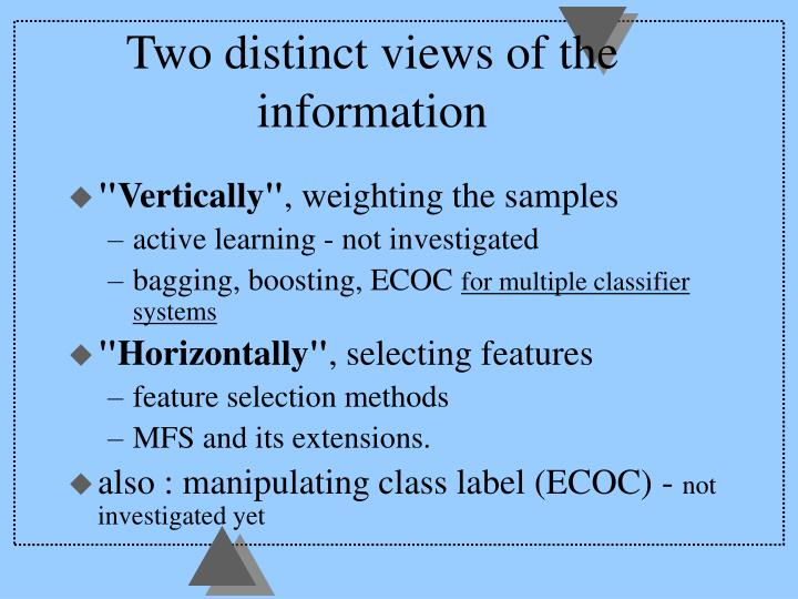 Two distinct views of the information