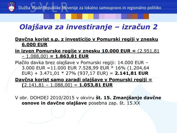 Olajšava za investiranje – izračun 2