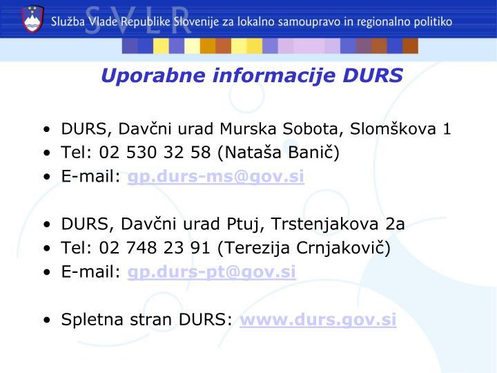 Uporabne informacijeDURS