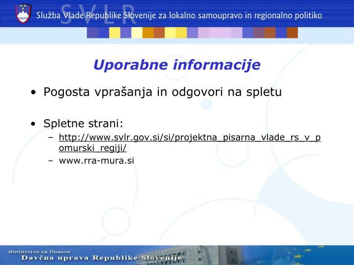 Uporabne informacije