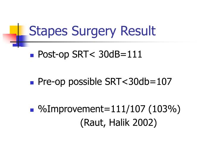 Stapes Surgery Result