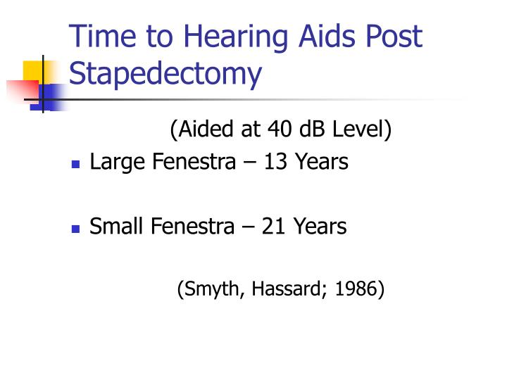 Time to Hearing Aids Post Stapedectomy
