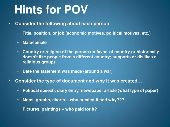 Hints for POV