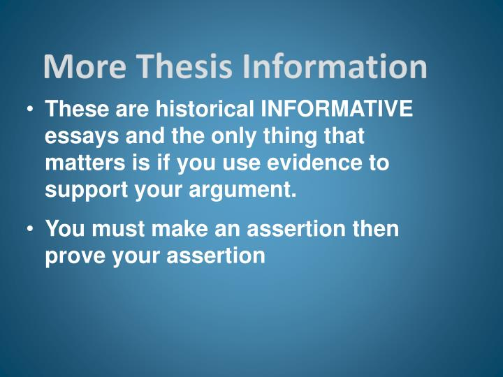 More Thesis Information