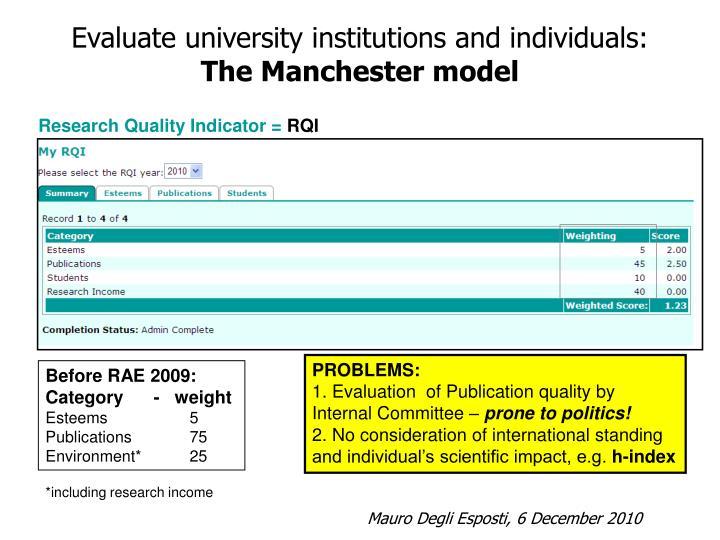 Evaluate university institutions and individuals:
