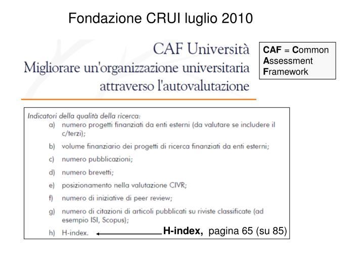 Fondazione CRUI luglio 2010