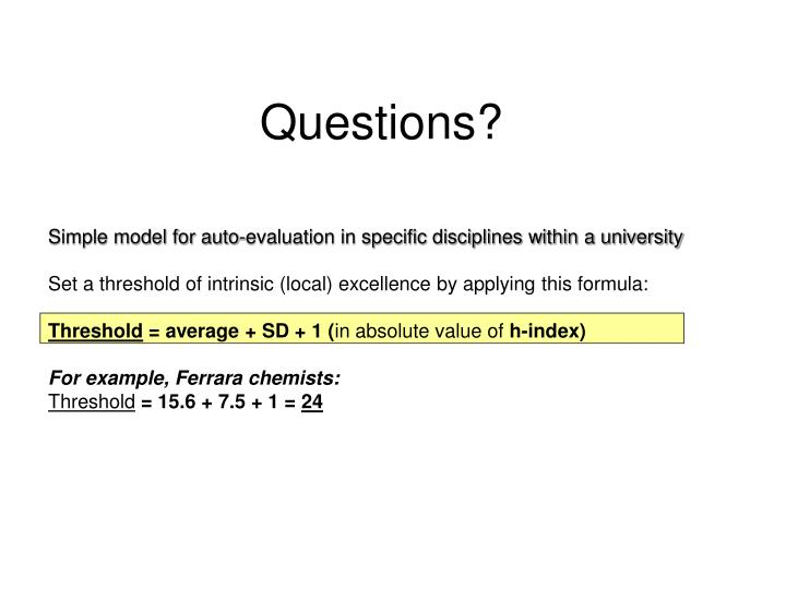 Simple model for auto-evaluation in specific disciplines within a university