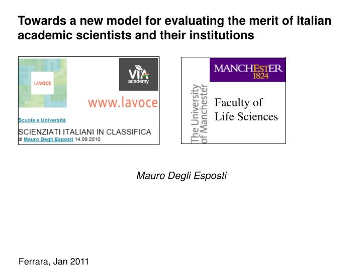 Towards a new model for evaluating the merit of Italian