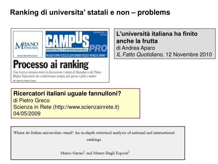 Ranking di universita' statali e non – problems