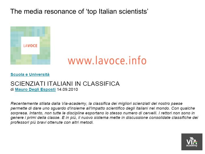 The media resonance of 'top Italian scientists'