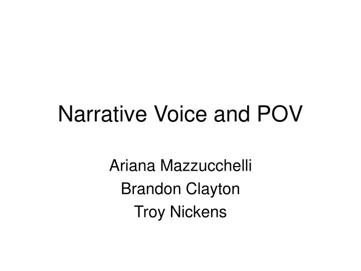 narrative voice and pov n.