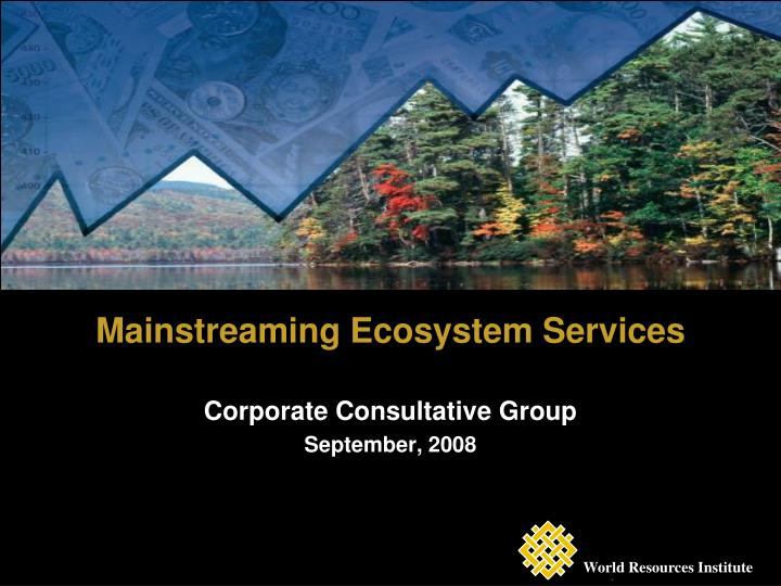 Mainstreaming ecosystem services corporate consultative group september 2008