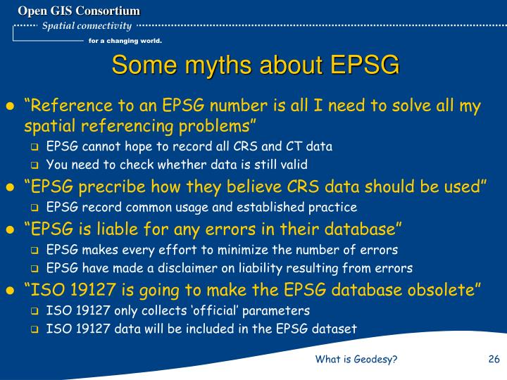 Some myths about EPSG