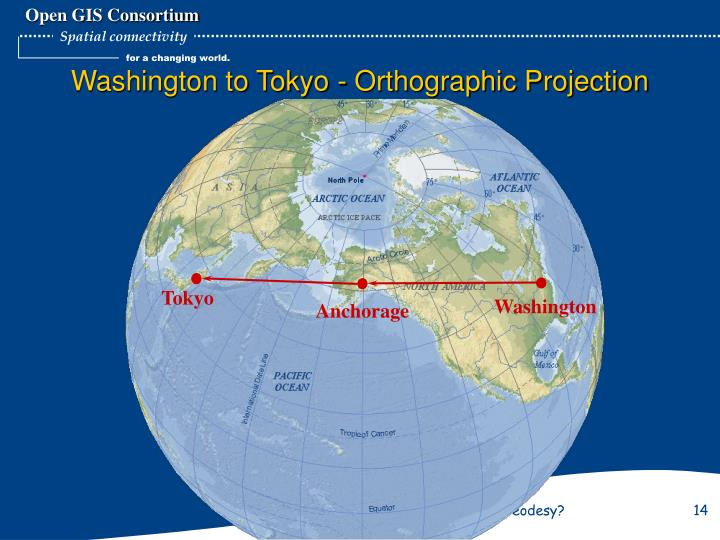 Washington to Tokyo - Orthographic Projection