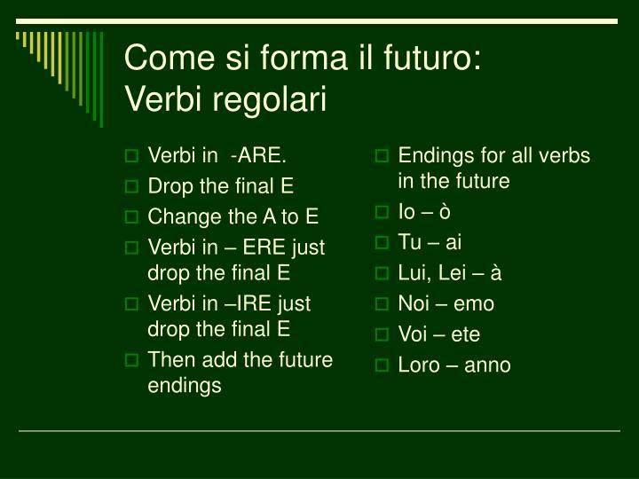 Come si forma il futuro verbi regolari
