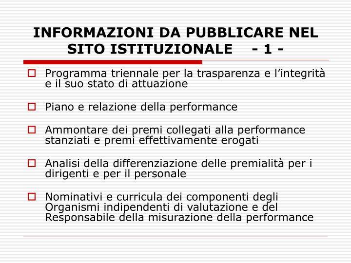 INFORMAZIONI DA PUBBLICARE NEL SITO ISTITUZIONALE    - 1 -