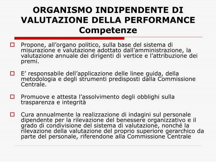 ORGANISMO INDIPENDENTE DI VALUTAZIONE DELLA PERFORMANCE