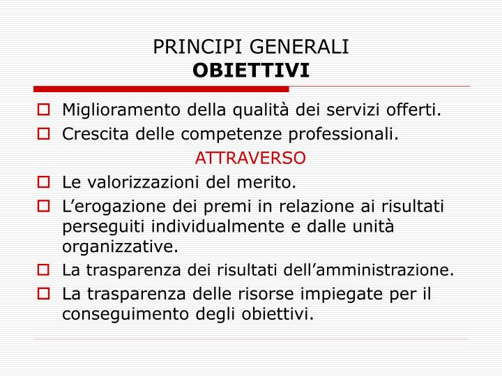 Principi generali obiettivi