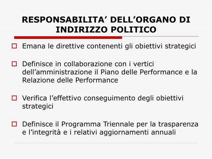RESPONSABILITA' DELL'ORGANO DI INDIRIZZO POLITICO