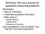 summary text as a source for qualitative reasoning problems