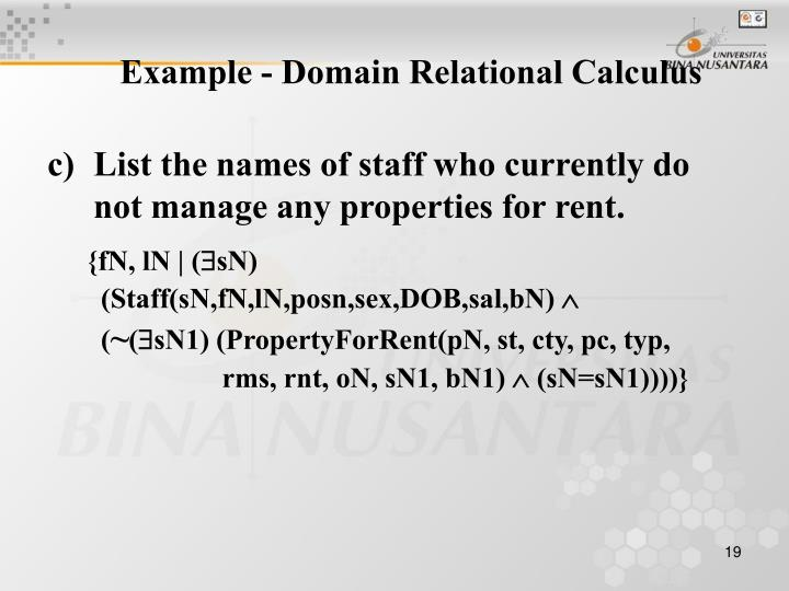 Example - Domain Relational Calculus