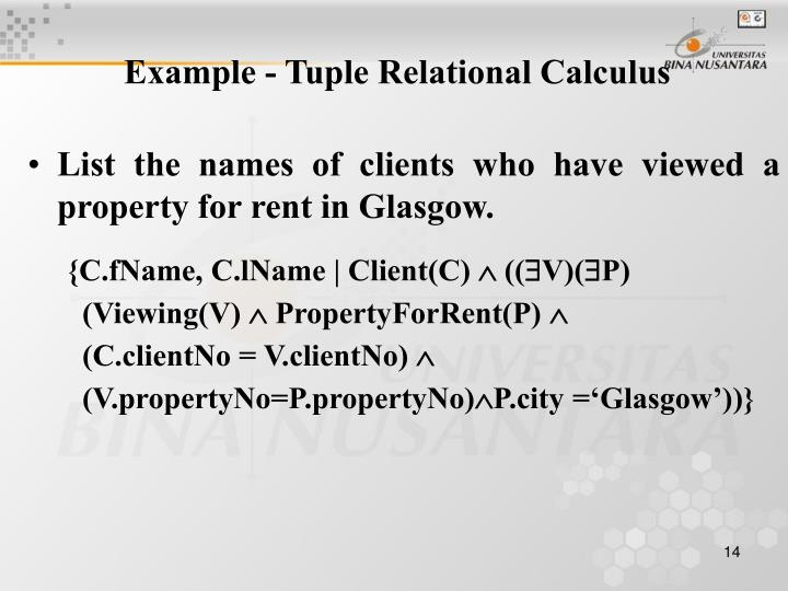 Example - Tuple Relational Calculus