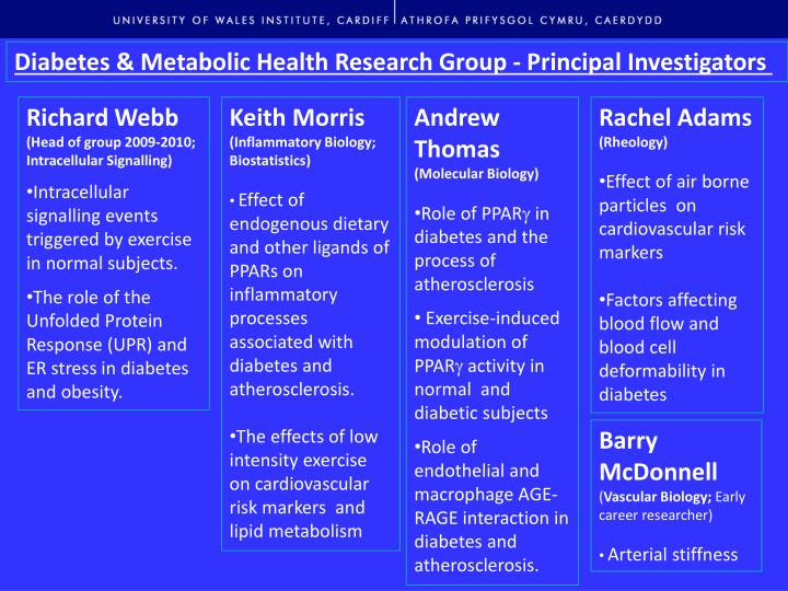 Diabetes & Metabolic Health Research Group - Principal Investigators