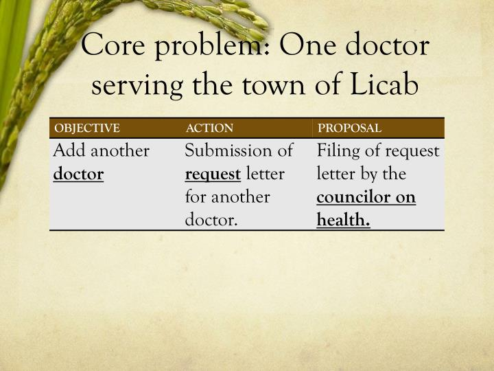 Core problem: One doctor serving the town of Licab