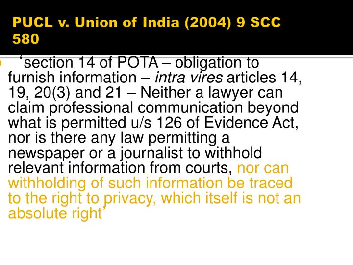 PUCL v. Union of India (2004) 9 SCC 580