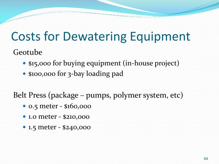 Costs for Dewatering Equipment