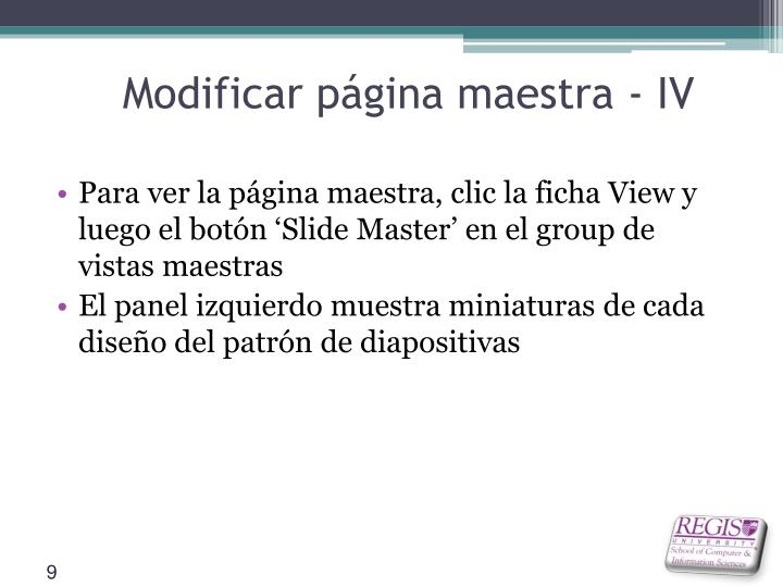Modificar página maestra - IV