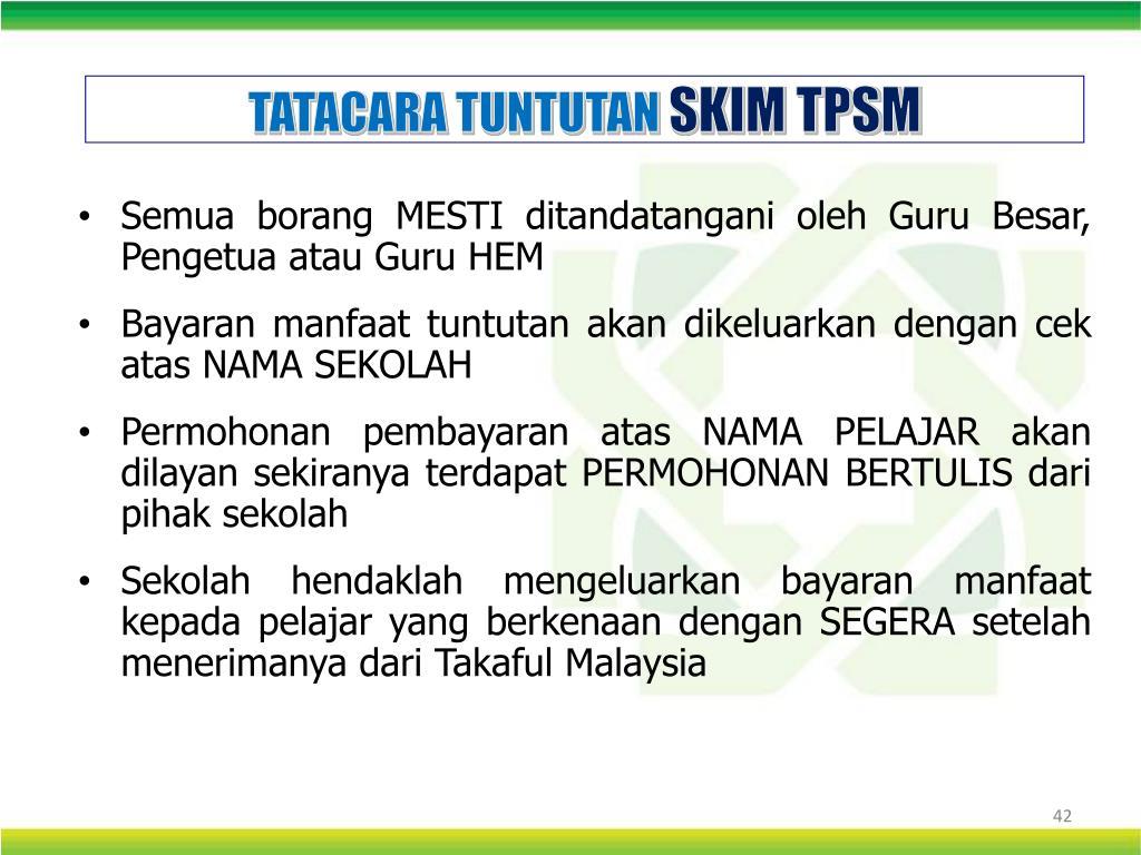 Ppt Pengurusan Skim Takaful Pelajar Sekolah Malaysia Tpsm Powerpoint Presentation Id 4733340