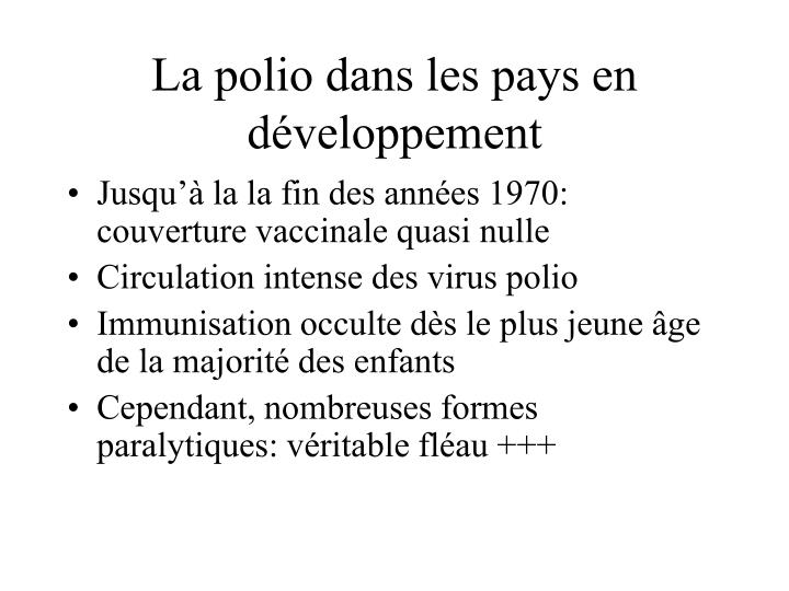 La polio dans les pays en développement