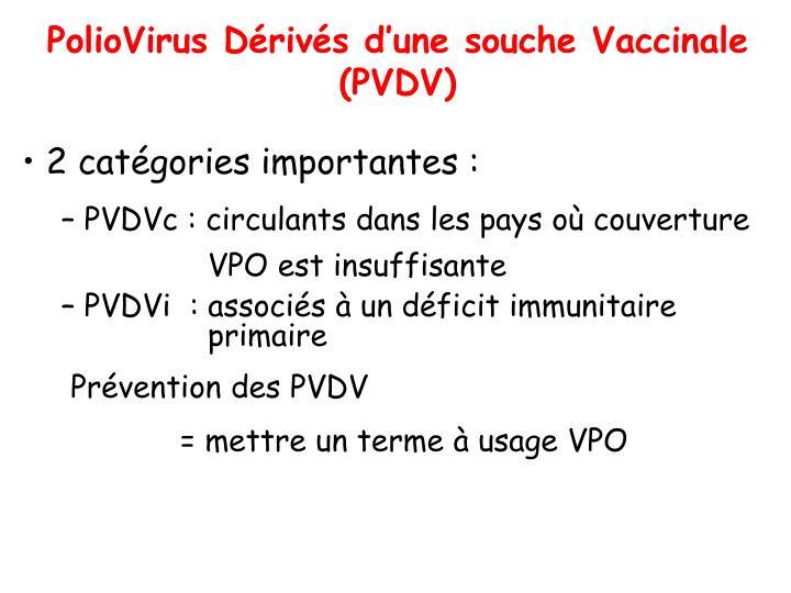 PolioVirus Dérivés d'une souche Vaccinale