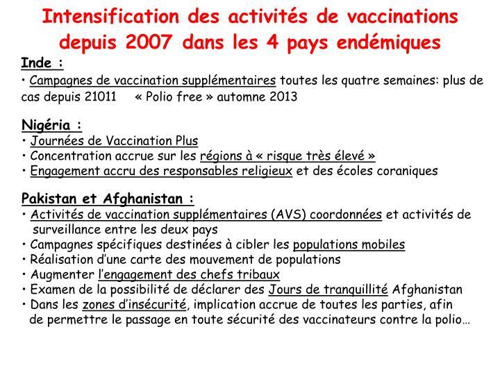 Intensification des activités de vaccinations