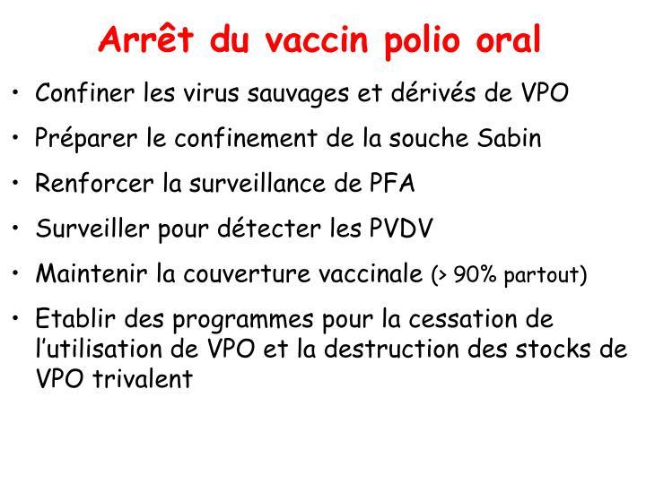 Arrêt du vaccin polio oral