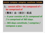 consist compose comprise constitute include