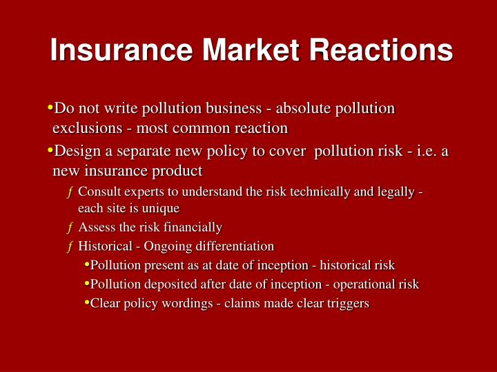 Insurance Market Reactions