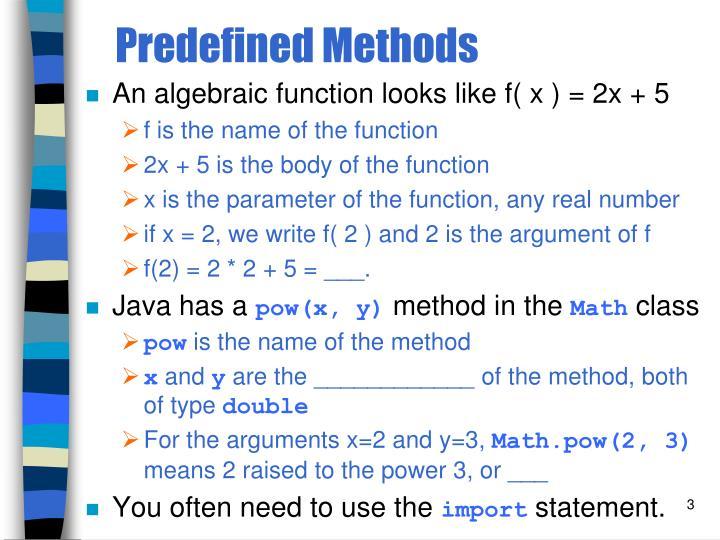 Predefined methods