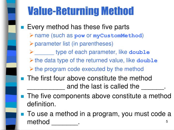 Value-Returning Method
