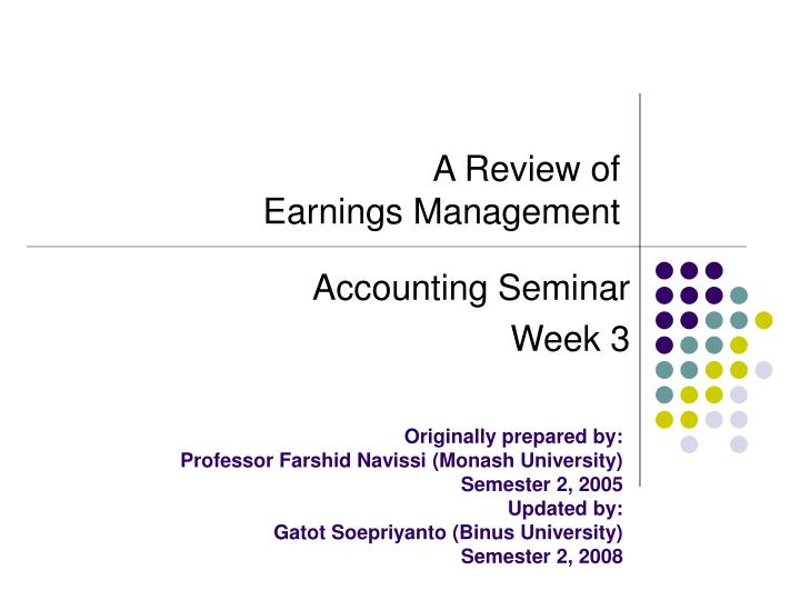 A review of earnings management ppt video online download.